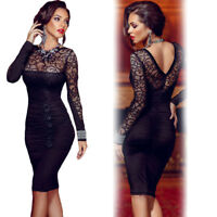 Black Floral Lace Long Sleeve V Back High Neck Pleated Midi Bodycon Office Wear