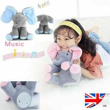 Peek a boo Singing Elephant Toy Stuffed Music Doll Animated Kids Gift Baby Cute