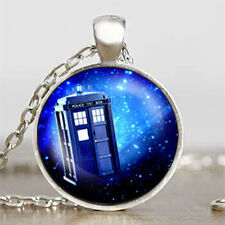 Doctor Who Tardis Police Box Silver Cabochon Necklace Pendent Jewellery Gift Bag