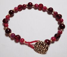 "Button + loop bracelet, 8"" red glass beads, gold patterned button"