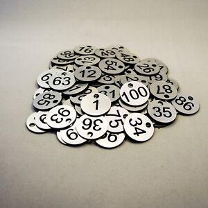 Set of 100x3cm Laser Engraved Number Discs, Table, Tags, Locker, Pub, Restaurant