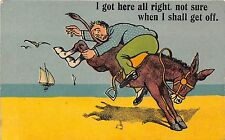 POSTCARD   COMIC   Seaside   Donkey   man