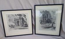 2 Signed WWII Paris France Etching Framed Art Madsen 1942 Rue Saint Honore VTG