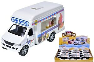 Pull Back DieCast Ice Cream Van Toy With Opening Doors Kids Vehicle Toy Gift New