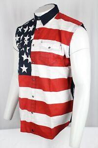 Cody James Men's American Flag Bubba Sleeveless Western Shirt CMSP19W47