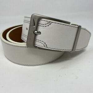 Nike G-FLEX Double Stitch Premium Leather Golf Belt White Cognac Sz 34