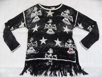 FROGBOX schöner Pullover mit Fransen Seide Leinen schwarz creme Gr. S TOP 918