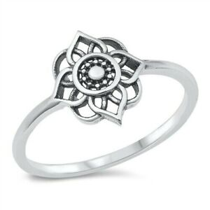 Mandala Ring Genuine Solid Sterling Silver 925 Oxidized Face Height 10 mm Size 5