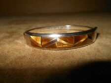 "Vintage Tiger Eye Inlay .950 Sterling Hinged Bangle 7 1/4"" Bracelet Mexico MB-63"