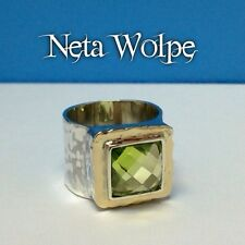 Rare Neta Wolpe Square Checkerboard Cut Peridot 925/14k Wide Hammer Finish Ring