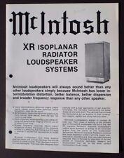 Vtg Mcintosh XR Isoplanar Speaker Information Product Guide SALES BROCHURE