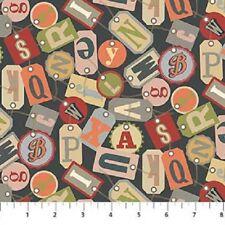 LetterPress, random tossed letters fonts , fat quarters,100% cotton,  21892-96