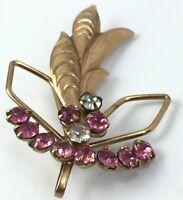 "Vintage 2 x 1 1/4"" Gold Tone Pink White Rhinestone Flower Brooch Pin"