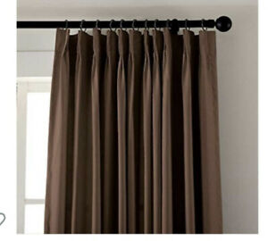 """Blackout Sliding Glass Door Curtains, Thermal Insulated 100""""X96"""" Brown Pleated"""