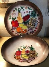 Vintage Hand Decorated Enamel On Copper California Cloisonne' Heavy Enamelware