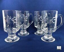 4 x Princess House - HERITAGE - TEMPERED GLASS COFFEE / TEA MUGS Irish Mugs
