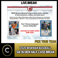 2020 BOWMAN HOBBY BASEBALL 6 BOX (HALF CASE) BREAK #A863 - PICK YOUR TEAM