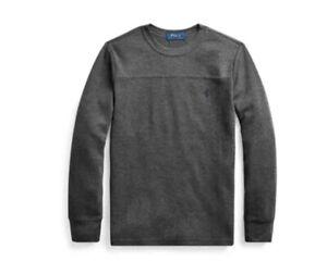Polo Ralph Lauren Boys Waffle-Knit  Cotton Blend Tee Gray M (10-12) 0926 BFU