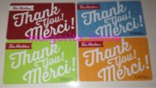 """TIM HORTONS CANADA 2016 GIFT CARD SET LOT OF 4 """"THANK YOU/MERCI"""" NO VALUE #6125"""