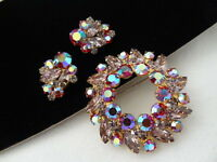Vintage Juliana Marquis Lavender Red AB Rhinestone Goldtone BROOCH Earring Set