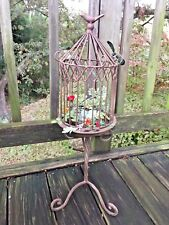Vintage 24/9 Bird Cage Wrought Iron Topiary Stand Fake Robin Egg's & Nest ❤️j8