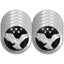 Lot of 10 - 1 Troy oz APMD .999 Fine Silver Round