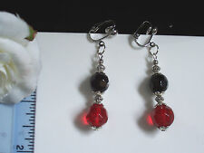 Black/red faceted crystal clip-on earrings