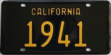1941 California style novelty license plate, black background!