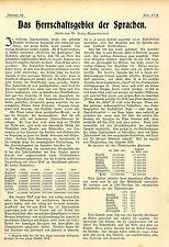 Dominazione al settore delle lingue. studio del dottor Franz Oppenheimer 1902