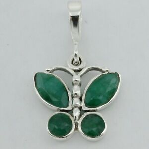 Genuine and Natural Green Butterfly EMERALD Pendant - 925 STERLING SILVER #20