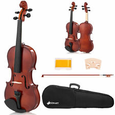 Full Size 4/4 Violin Solid Wood with Hard Case Bow Rosin Bridge Student Starter