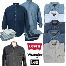 MEN VINTAGE LEVIS LEE WRANGLER DENIM SHIRTS LONG SLEEVE XS S M L XL XXL