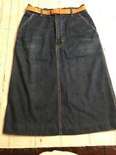 70's Vintage Calvin Klein Womens Sz 8 Denim Pencil Skirt Leather Belt *c4