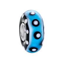 MATERIA Murano Glas Beads Anhänger Punkte 925 Silber blau schwarz für Armband