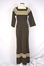 Vintage 70's - 80's Long Gold Metallic Black Dress Size 8