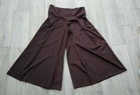 Ladies Vintage 70s Wide Legged Long Brown Sateen Cullottes Maxi Skirt Size 18