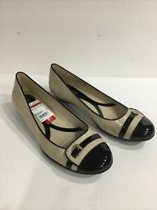 Naturalizer N5 Comfort Heath 8 1/2 Ballet Flats Black & Beige Patent Leather NWT