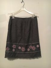ANN TAYLOR LOFT WOMEN GRAY FLOWER EMBROIDERY WOOL BLEND Skirt SIZE 8 FORMAL