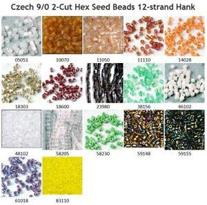 Czech 9/0 2cut Hex Tube Glass Seed Beads Preciosa