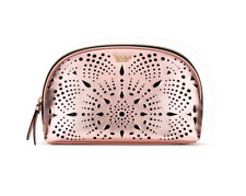 VICTORIA'S SECRET LASER CUT GLAM FAUX LEATHER MAKEUP COSMETIC BAG CASE POUCH NWT