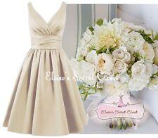 BRIDGET Mink Gold 50's Satin Bridesmaid Wedding Knee Length Dress UK Sizes 6 -18