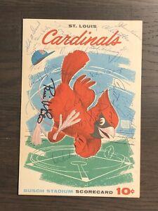 Signed 1961 Cardinals scorecard Ken Boyer(2), Curt Flood, Johnny Keane- 21 autos