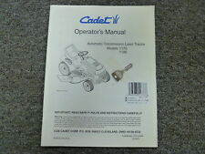 Cub Cadet 1170 & 1180 Automatic Transmission Lawn Tractor Owner Operator Manual
