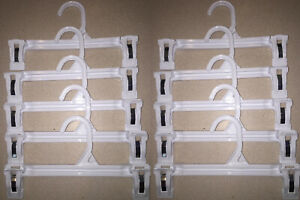 """10 Clothes Hangers 10"""" inch White Pinch Double Clip Plastic Skirt Pants Clothing"""