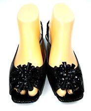 Anne Klein iflex Junior Sandal Flats Size 7 Black Brown Glitter Jewel Slingbacks