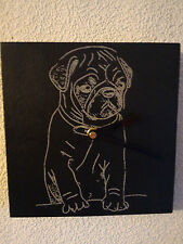 Slate Wall Clock Pug - Dog Design - Laser Engraved Face - Quartz Movement