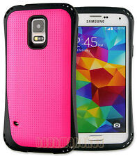 for Samsung galaxy S5 flexible hard case i9600 ruged 2 layer mesh hot pink black