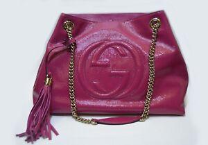 Gucci Soho Shoulder Bag Chain Strap Tote Fuchsia metallic