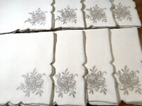 VINTAGE LARGE HAND EMBROIDERED CREAM SILVER LINEN LOT EIGHT NAPKINS 18X18 INCH