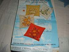 VTG Bernat Artist Orig Crewel Embroidery Pillow Kit-Marsh Edge-Complete No Inst